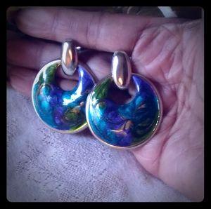 Vintage Enamel Painted Brass Hoop Earrings